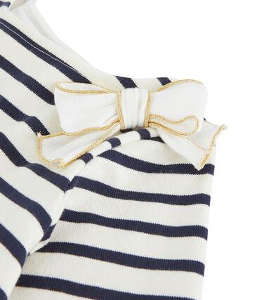 Maglia alla marinara con fiocco bambina bianco Marshmallow / blu Smoking