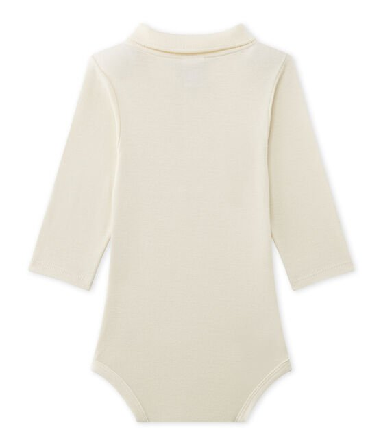 Body bebé maschio con colletto beige Coquille