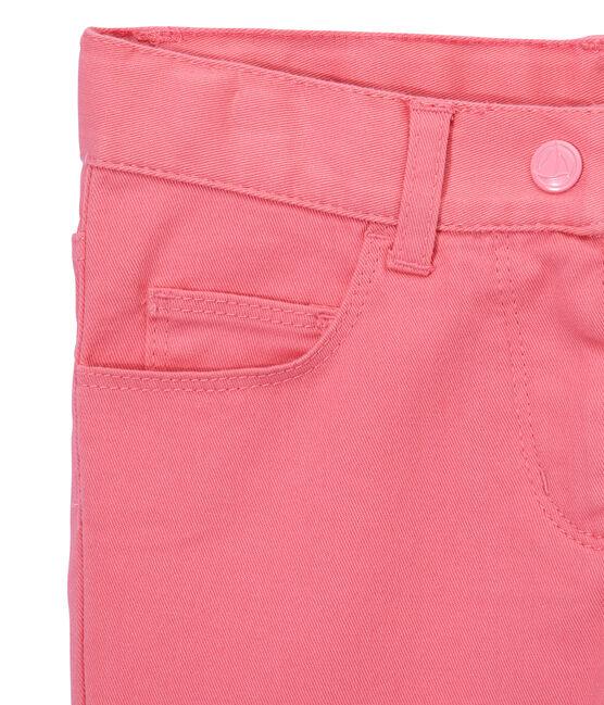 Pantalone bambina in jeans colorato rosa Petal