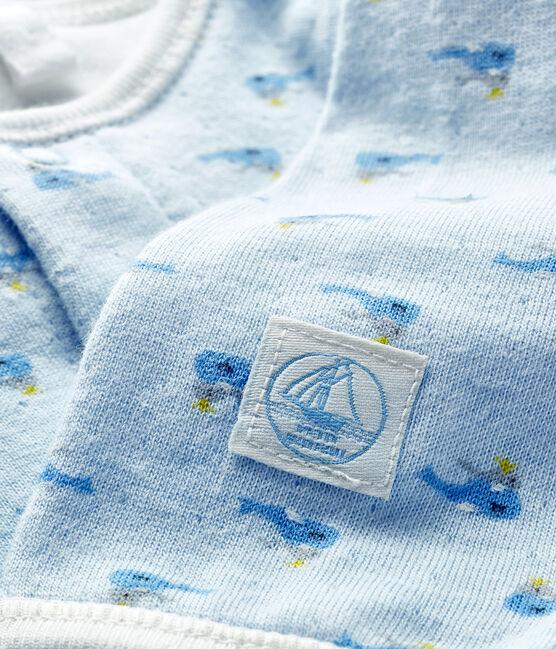 Bodyjama bebè in tubique blu Fraicheur / bianco Multico