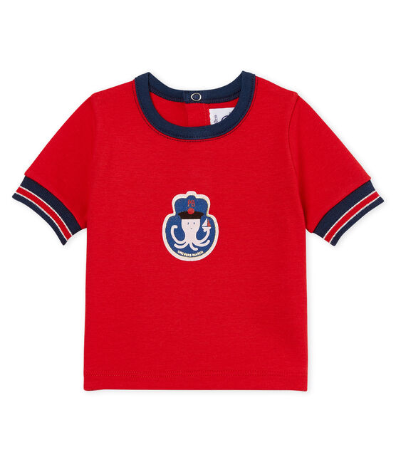 T-shirt mc bebè maschietto fantasia rosso Terkuit