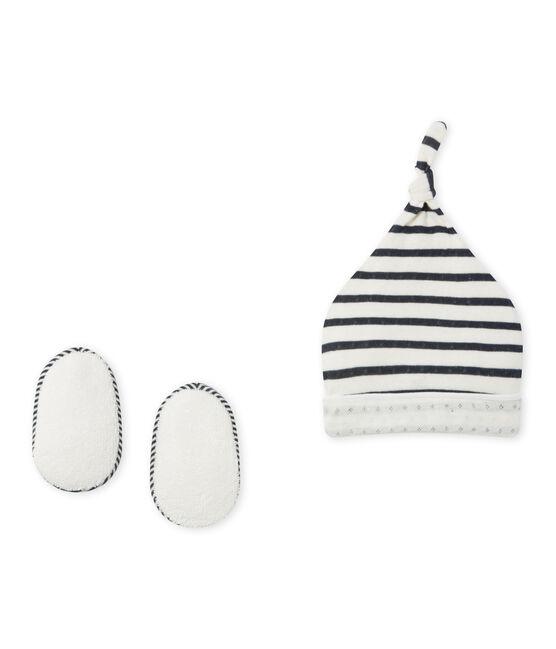 Coordinato cappellino nascita e calzine per bebè beige Coquille / blu Smoking