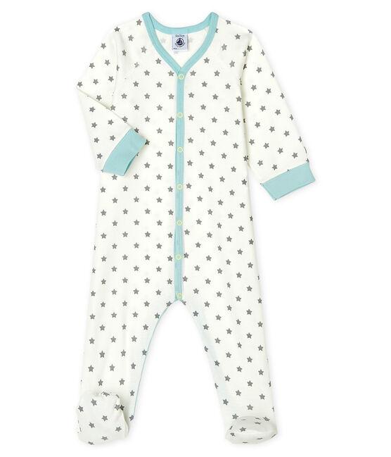 Tutina pigiama bebè maschio a costine bianco Marshmallow / grigio Gris