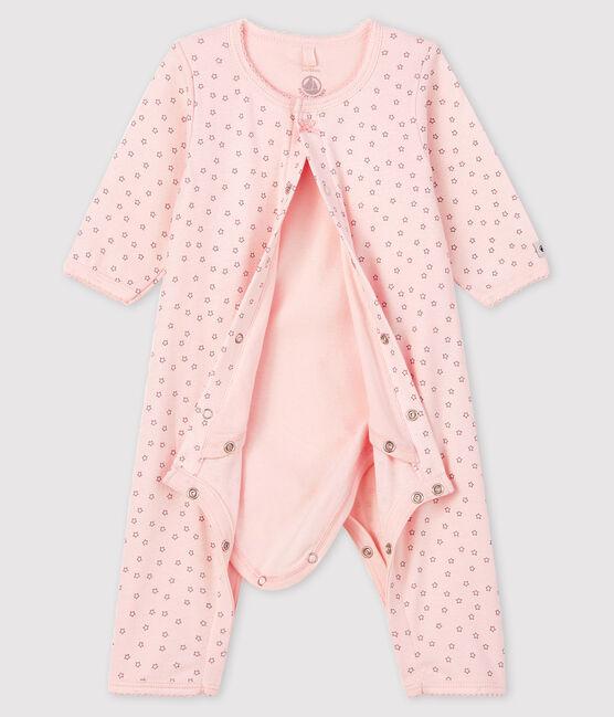 Bodyjama senza piedi da neonata rosa a stelle a costine rosa Fleur / grigio Concrete