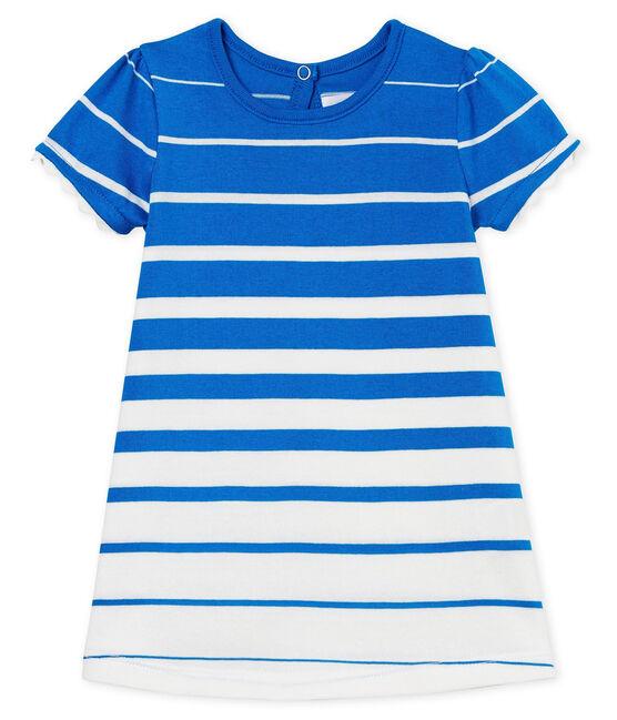 Abito mc a righe bebè femmina blu Riyadh / bianco Marshmallow