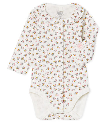 Body nascita manica lunga bebè femmina a costine bianco Marshmallow / rosa Charme