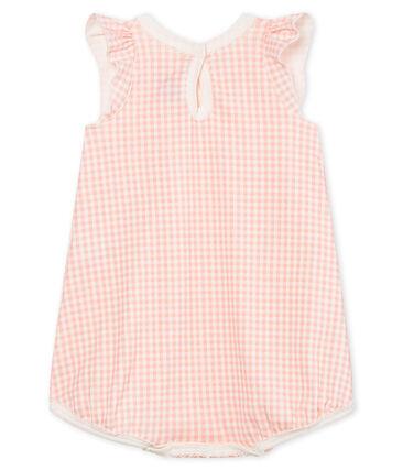 Tutina corta bebè bambina a costine bianco Marshmallow / rosa Rosako