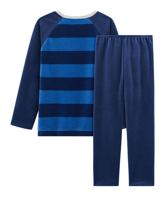 Pigiama bambino in ciniglia blu Medieval / blu Major