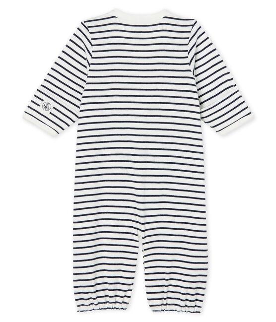 Combisac bebè a costine bianco Marshmallow / blu Smoking