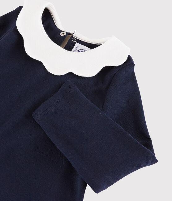 Blusa a manica lunga bebè femmina blu Smoking