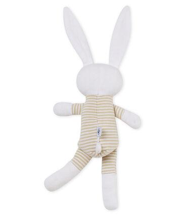 Doudou coniglietto bebè in jersey beige Perlin / bianco Marshmallow