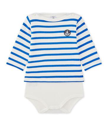 Body marinière per bebè a maniche lunghe bianco Marshmallow / blu Perse