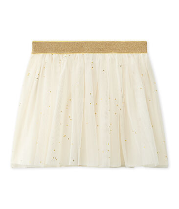 Gonna per bambina in tulle stellata beige Coquille / giallo Dore