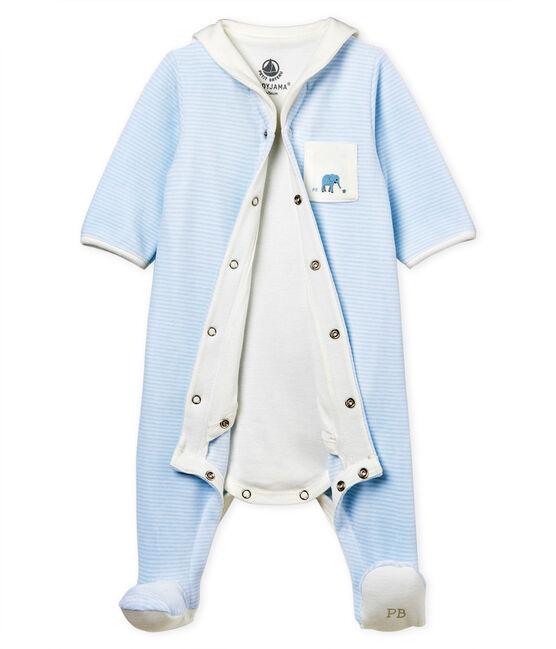 Bodyjama bebè maschio in velluto millerighe blu Fraicheur / bianco Ecume