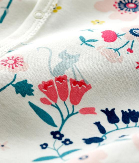 Tutina fantasia a fiori senza piedi bebè femmina a costine bianco Marshmallow / bianco Multico