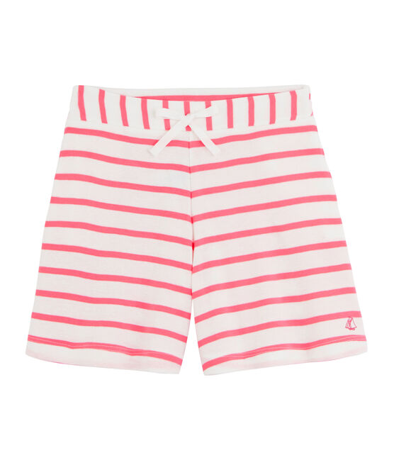 Short in costina bambina bianco Marshmallow / rosa Cupcake