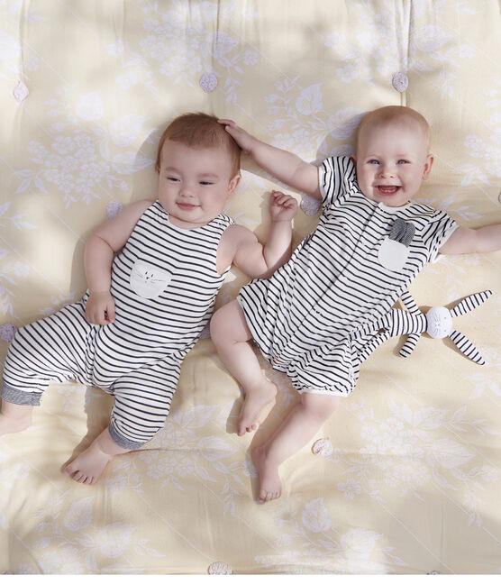 Tutina corta bebè femmina a costine bianco Marshmallow / blu Smoking
