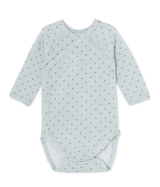 Body puericultura bebè bambina maniche lunghe lana e cotone blu Fraicheur / grigio Tempete