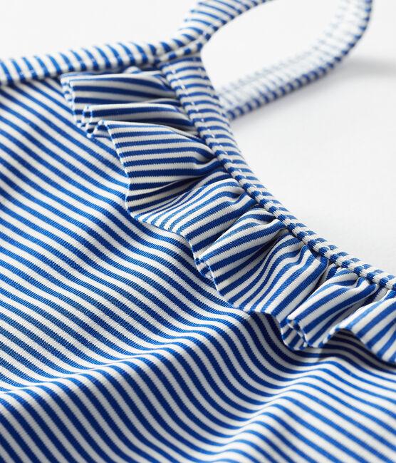 Costume intero UPF 50+ bimba blu Surf / bianco Marshmallow