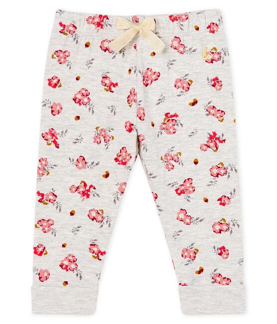 Pantalone bebè femmina in tubique fantasia grigio Beluga / bianco Multico