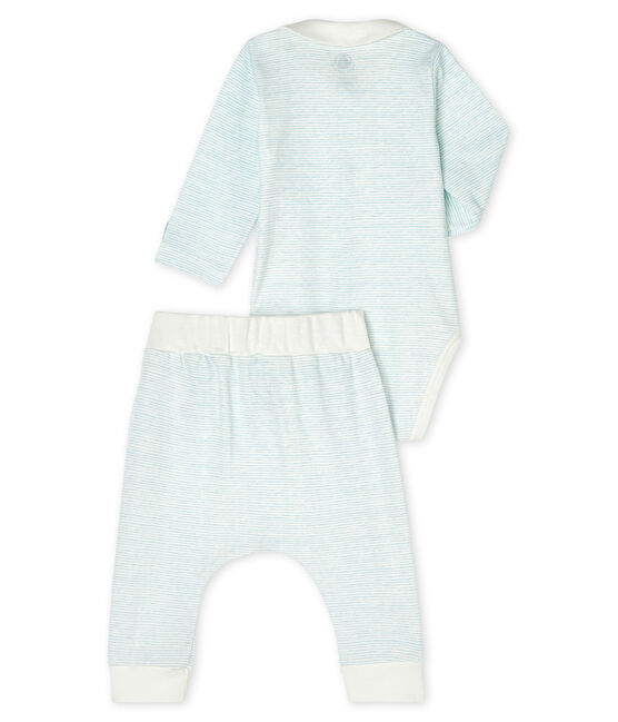 Completo 2 pezzi bebè maschio a costine bianco Marshmallow / blu Jasmin