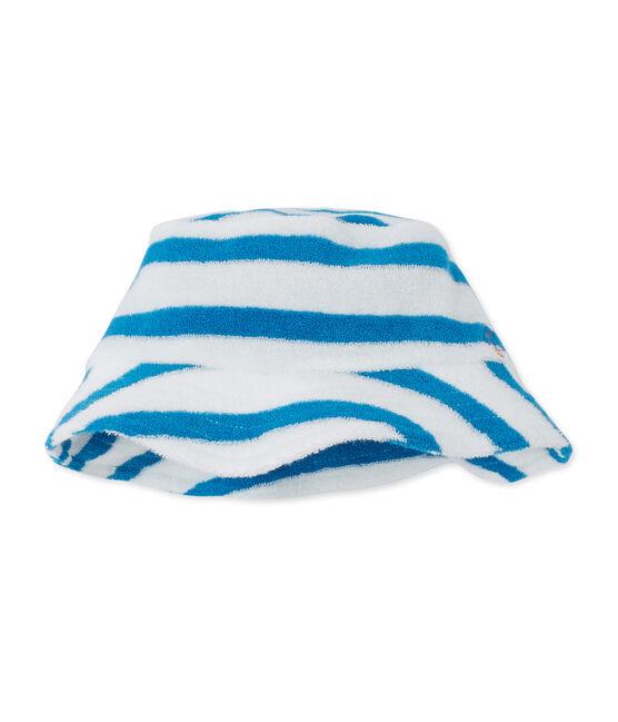 Bob per bebè maschio in spugna a righe bianco Lait / blu Mykonos