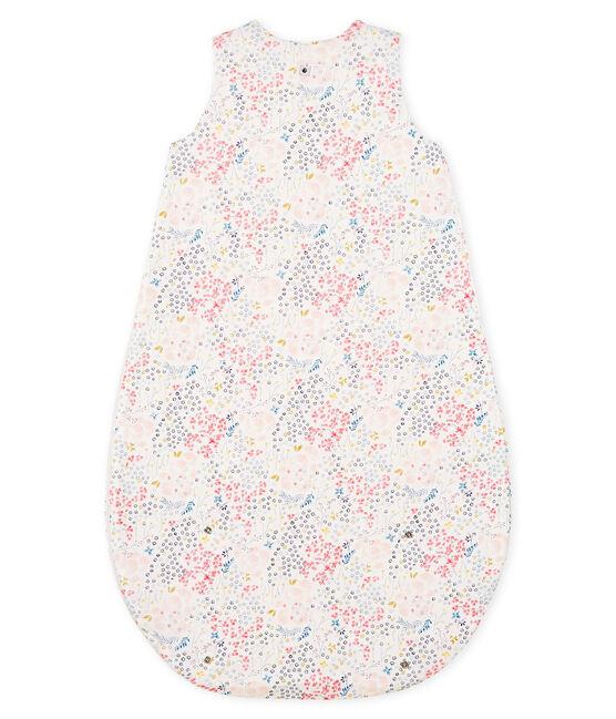 Sacco nanna reversibile bebè femmina a costine bianco Marshmallow / bianco Multico