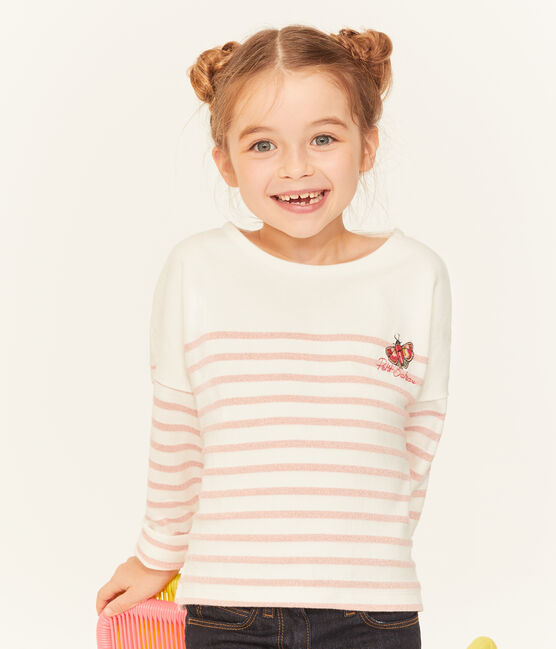 Marinière bambina bianco Marshmallow / rosa Joli Brillant