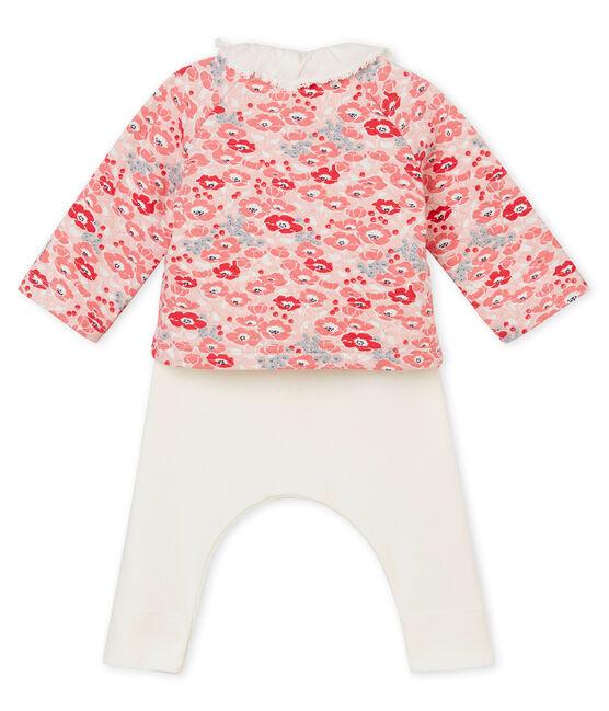 Coordinato tre pezzi per bebé femmina bianco Marshmallow / bianco Multico