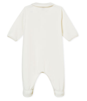 Tutina per bebé unisex in ciniglia tinta unita