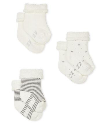 Trio di calzine bebè lavorate a maglia lotto .