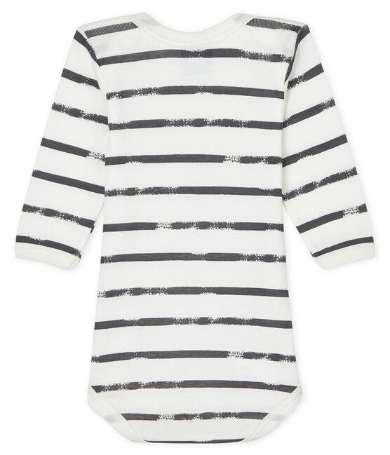 Body manica lunga bebè maschietto-bambina bianco Lait / grigio Maki