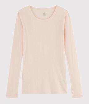 T-shirt in lana e cotone Donna rosa Fleur