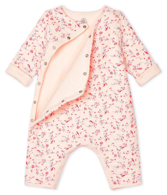 Tutina lunga bebè unisex in tubique rosa Fleur / bianco Multico
