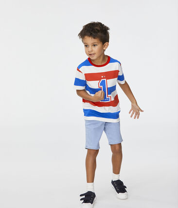 T-shirt bambino bianco Marshmallow / rosso Peps