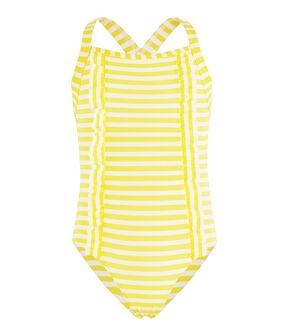 Costume da bagno intero a righe con dettagli di volant. giallo Eblouis / bianco Marshmallow