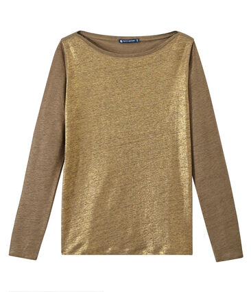 T-shirt donna a maniche lunghe in lino iridescente marrone Shitake / giallo Or