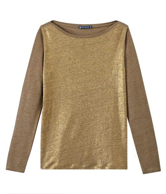 T-shirt donna a maniche lunghe in lino iridescente marrone Shitake / giallo Or
