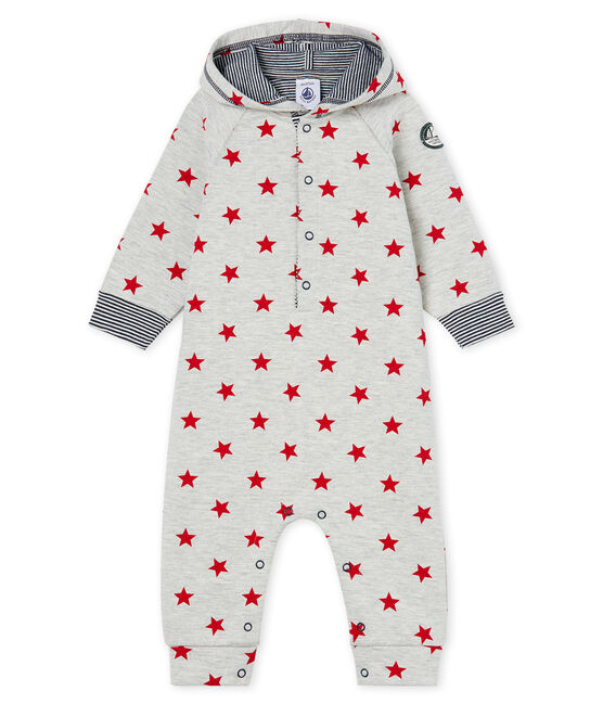 Tutina lunga da bebè maschio in fantasia con cappuccio grigio Beluga / rosso Terkuit