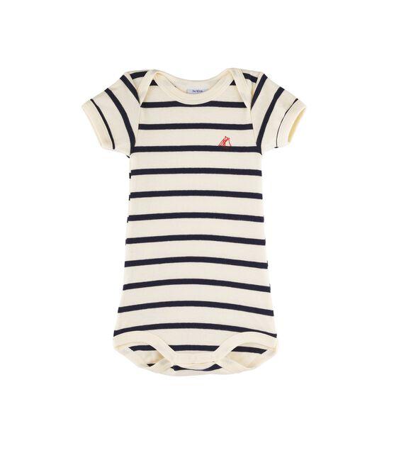 Body manica corta bebè femmina - maschio beige Coquille / blu Smoking