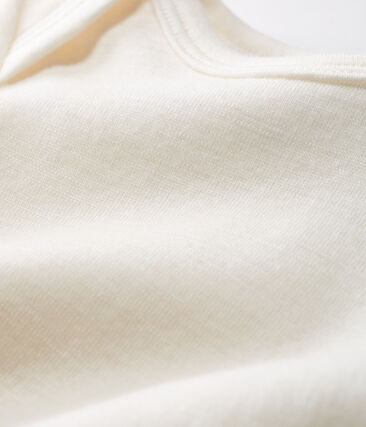 Body lungo bebè in lana e cotone beige Ecru