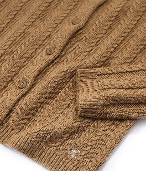 Cardigan in lana e cotone marrone Brindille