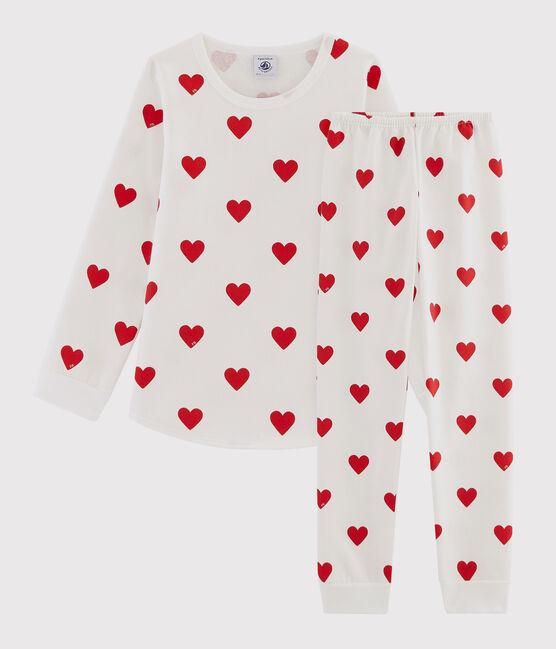Pigiama bambino fantasia cuori in molleton bianco Marshmallow / rosso Terkuit