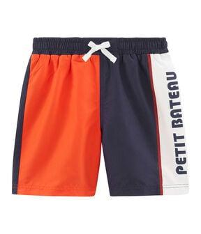 Shorts mare effetto color block bambino blu Touareg / arancione Spicy