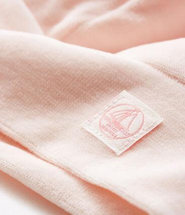 Cuffietta nascita bebè in ciniglia rosa Fleur
