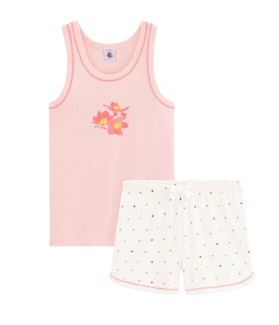 Pigiama corto bambina a costine rosa Minois / bianco Multico