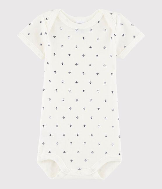 Body manica corta bebè maschietto bianco Lait / blu Medieval