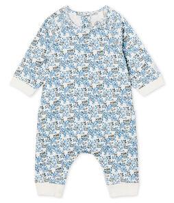 Tutina lunga bebè maschio a costine bianco Marshmallow / bianco Multico