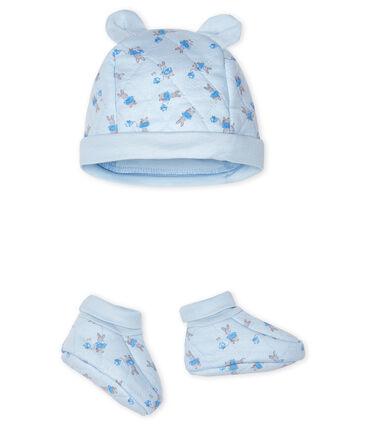 Confezione cuffietta e babbucce bebè in tubique blu Fraicheur / bianco Multico