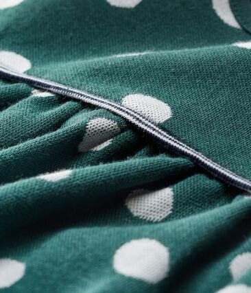 Abito a maniche lunghe da bebè femmina a pois verde Sousbois / bianco Marshmallow